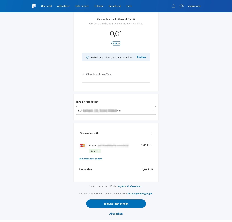 Paypal zahlung abbrechen