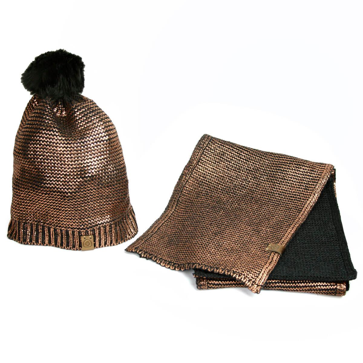 Wellensteyn Set Mütze und Schal coppermetallic